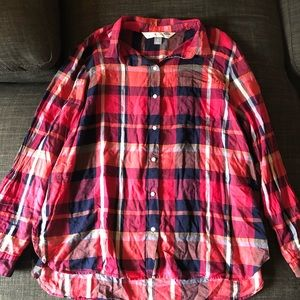 Pink & Navy Plaid Button Down